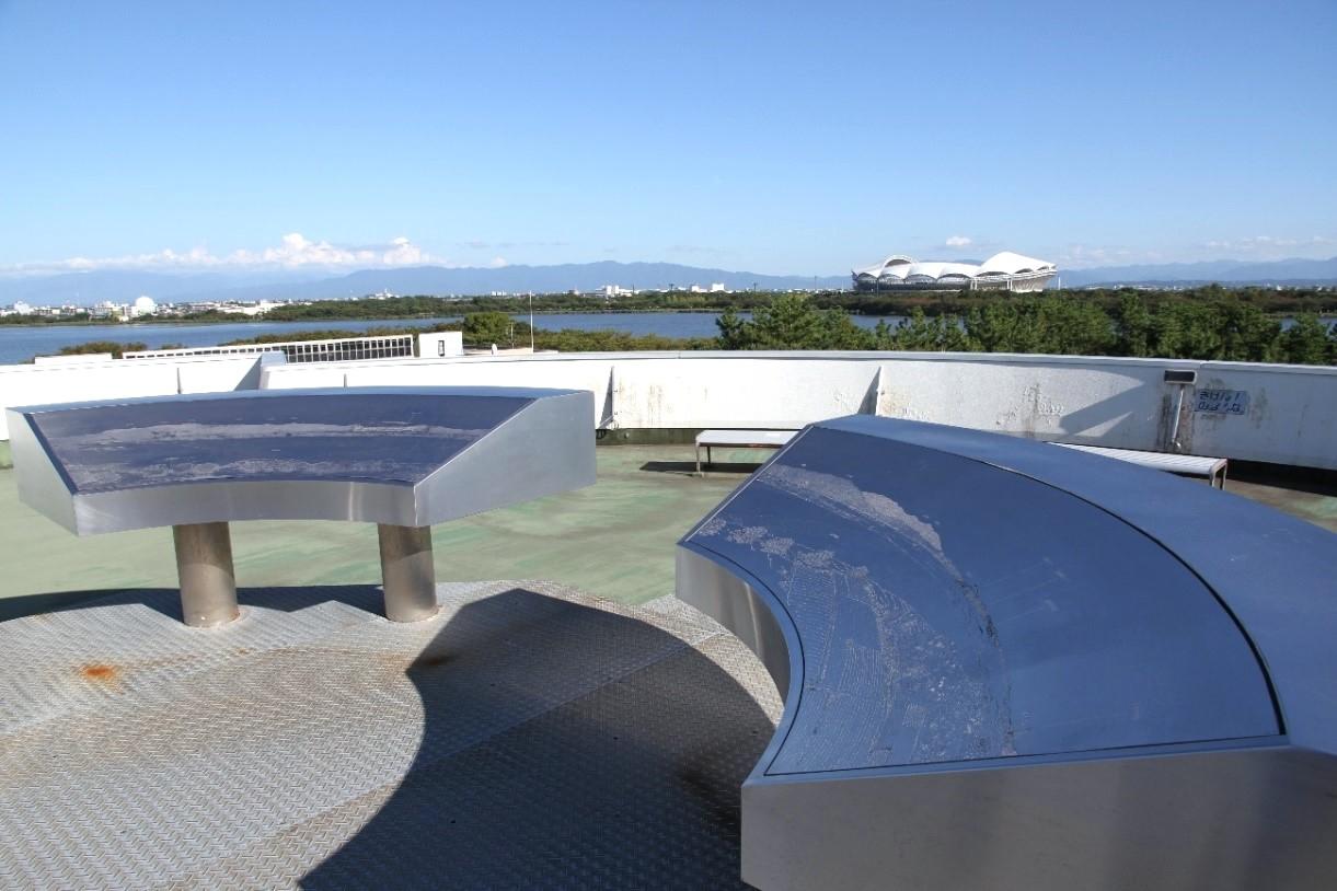 科学館東南側の景色と展望盤