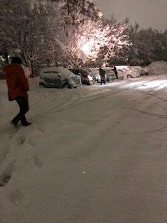 雪の降った駐車場の様子